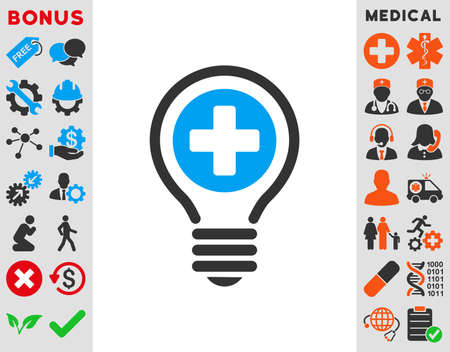 addition symbol: Medical Bulb vector icon. Style is bicolor flat symbol, blue and gray colors, rounded angles, white background.