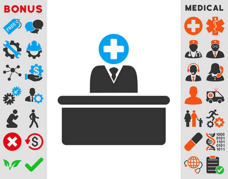 bureaucrat: Medical Bureaucrat vector icon. Style is bicolor flat symbol, blue and gray colors, rounded angles, white background.