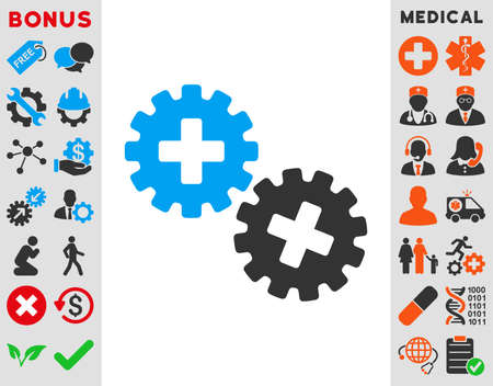 gear box: Medical Gears vector icon. Style is bicolor flat symbol, blue and gray colors, rounded angles, white background.