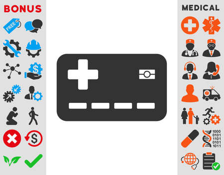 allowed to pass: Medical Insurance Card vector icon. Style is bicolor flat symbol, blue and gray colors, rounded angles, white background.