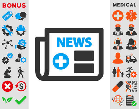 currently: Medical Newspaper vector icon. Style is bicolor flat symbol, blue and gray colors, rounded angles, white background.