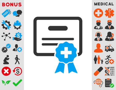autoriser: Medical Certification vector icon. Style is bicolor flat symbol, blue and gray colors, rounded angles, white background.