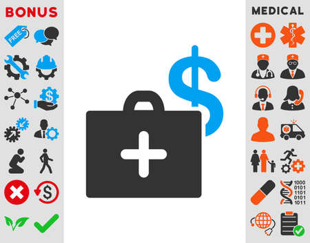 addition: Medical Fund vector icon. Style is bicolor flat symbol, blue and gray colors, rounded angles, white background.