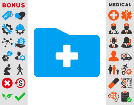 file folder: Medical Folder vector icon. Style is bicolor flat symbol, blue and gray colors, rounded angles, white background.