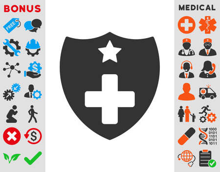 shiled: Medical Insurance vector icon. Style is bicolor flat symbol, blue and gray colors, rounded angles, white background. Illustration