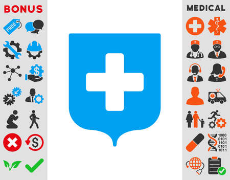 security token: Medical Shield vector icon. Style is bicolor flat symbol, blue and gray colors, rounded angles, white background.