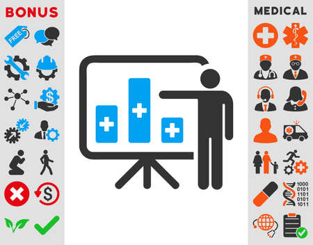 health care analytics: Medical Public Report vector icon. Style is bicolor flat symbol, blue and gray colors, rounded angles, white background. Illustration