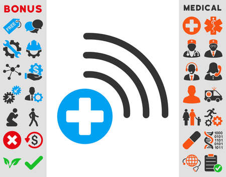 addition: Medical Source vector icon. Style is bicolor flat symbol, blue and gray colors, rounded angles, white background.