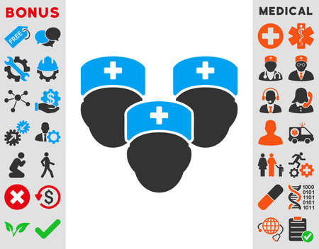 family discussion: Medical Staff vector icon. Style is bicolor flat symbol, blue and gray colors, rounded angles, white background.