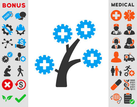 medical technology: Medical Technology Tree vector icon. Style is bicolor flat symbol, blue and gray colors, rounded angles, white background.