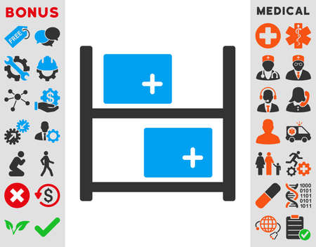medical distribution: Medical Warehouse vector icon. Style is bicolor flat symbol, blue and gray colors, rounded angles, white background.