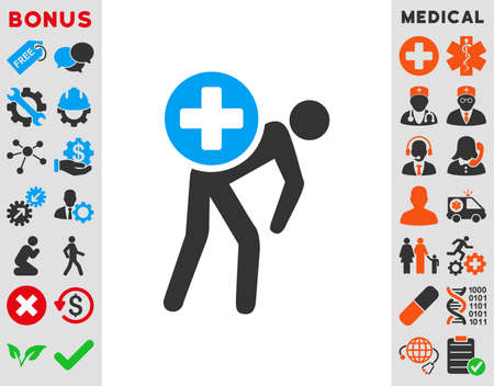 pc case: Medication Courier vector icon. Style is bicolor flat symbol, blue and gray colors, rounded angles, white background.