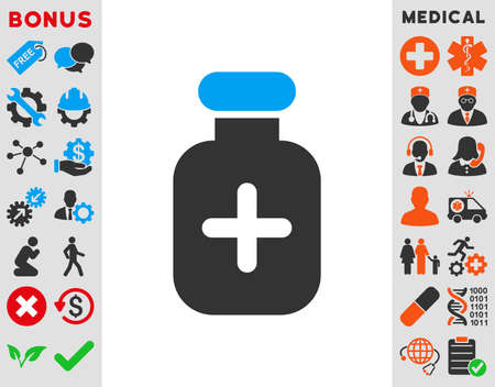 medication: Medication Vial vector icon. Style is bicolor flat symbol, blue and gray colors, rounded angles, white background. Illustration
