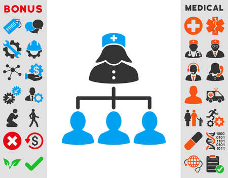 patients: Nurse Patients Connections vector icon. Style is bicolor flat symbol, blue and gray colors, rounded angles, white background.