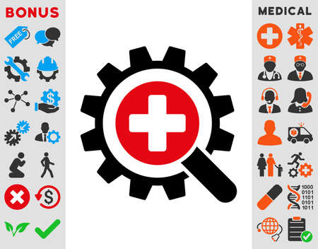 medical technology: Find Medical Technology raster icon. Style is bicolor flat symbol, intensive red and black colors, rounded angles, white background.