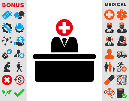 bureaucrat: Medical Bureaucrat raster icon. Style is bicolor flat symbol, intensive red and black colors, rounded angles, white background.