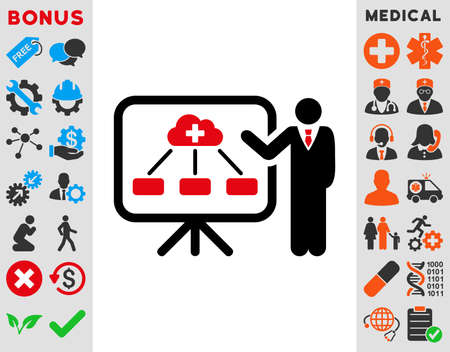 health care analytics: Health Care Report raster icon. Style is bicolor flat symbol, intensive red and black colors, rounded angles, white background.