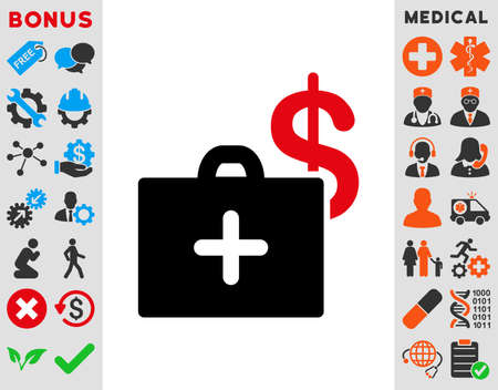 health care funding: Medical Fund raster icon. Style is bicolor flat symbol, intensive red and black colors, rounded angles, white background. Stock Photo