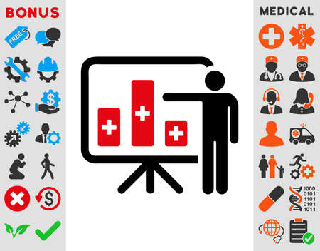 health care analytics: Medical Public Report raster icon. Style is bicolor flat symbol, intensive red and black colors, rounded angles, white background.