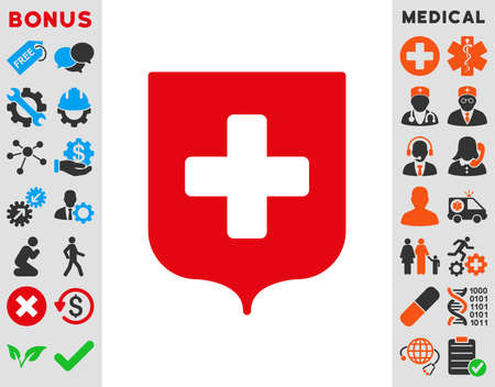 medieval medicine: Medical Shield raster icon. Style is bicolor flat symbol, intensive red and black colors, rounded angles, white background.
