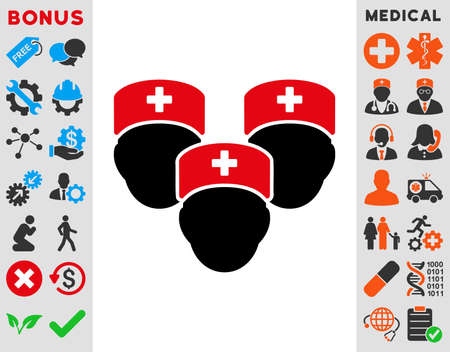 Medical Staff Raster Icon Style Is Bicolor Flat Symbol Intensive