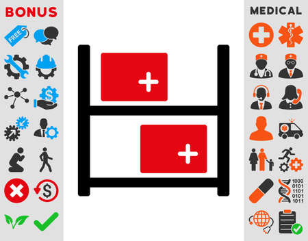 medical distribution: Medical Warehouse raster icon. Style is bicolor flat symbol, intensive red and black colors, rounded angles, white background.