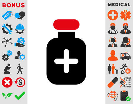 additional chemicals: Medication Vial raster icon. Style is bicolor flat symbol, intensive red and black colors, rounded angles, white background.