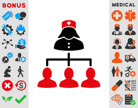 patients: Nurse Patients Connections raster icon. Style is bicolor flat symbol, intensive red and black colors, rounded angles, white background.