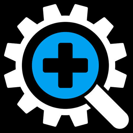 medical technology: Find Medical Technology raster icon. Style is bicolor flat symbol, blue and white colors, rounded angles, black background.