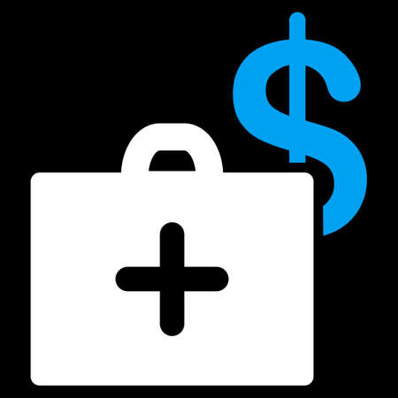 health care funding: Medical Fund raster icon. Style is bicolor flat symbol, blue and white colors, rounded angles, black background.