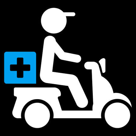 Drugs Motorbike Delivery raster icon. Style is bicolor flat symbol, blue and white colors, rounded angles, black background.