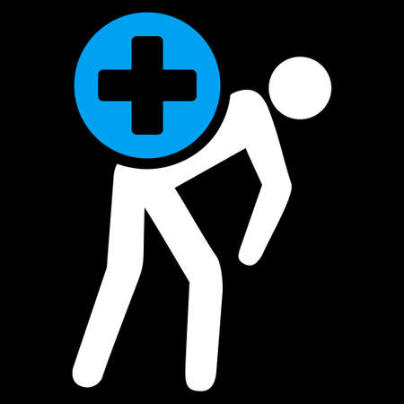 tree services company: Medication Courier raster icon. Style is bicolor flat symbol, blue and white colors, rounded angles, black background. Stock Photo