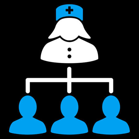 patients: Nurse Patients Connections raster icon. Style is bicolor flat symbol, blue and white colors, rounded angles, black background.