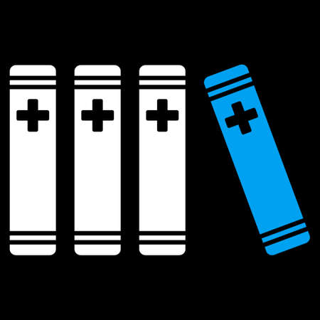 periodicals: Medical Books raster icon. Style is bicolor flat symbol, blue and white colors, rounded angles, black background. Stock Photo