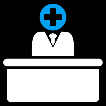 bureaucrat: Medical Bureaucrat raster icon. Style is bicolor flat symbol, blue and white colors, rounded angles, black background.