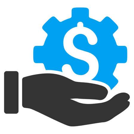 개발 서비스 벡터 아이콘입니다. 스타일 바이 컬러 평면 심볼, 파란색과 회색 색상, 둥근 각도, 흰색 배경입니다.