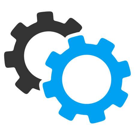 Gears vector icon. Le style est bicolor symbole plat, les couleurs bleu et gris, angles arrondis, fond blanc.
