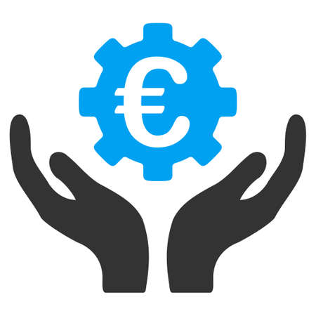Euro Maintenance vector icon. Style is bicolor flat symbol, blue and gray colors, rounded angles, white background. Иллюстрация