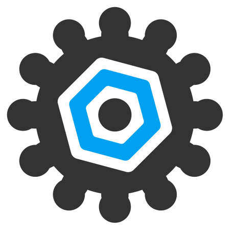 config: Gears vector icon. Style is bicolor flat symbol, blue and gray colors, rounded angles, white background.
