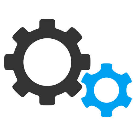Gears vector icon. Style is bicolor flat symbol, blue and gray colors, rounded angles, white background.