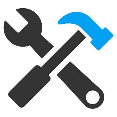 Icona vettore di martello e chiave. Lo stile è simbolo piatto bicolore, colori blu e grigio, angoli arrotondati, sfondo bianco. Archivio Fotografico - 45865513