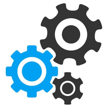 Mechanizm ikon wektorowych. Styl jest bicolor płaskim symbolem, niebieski i szary, zaokrąglonymi kątami, białe tło. Ilustracje wektorowe