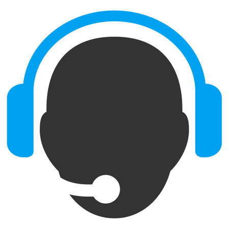 head phones: Operator Head vector icon. Style is bicolor flat symbol, blue and gray colors, rounded angles, white background.