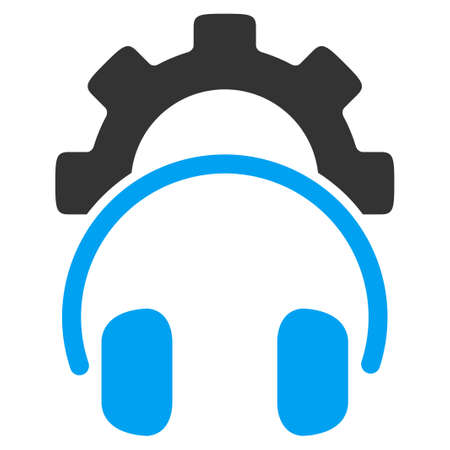 headset symbol: Headset Configuration vector icon. Style is bicolor flat symbol, blue and gray colors, rounded angles, white background.