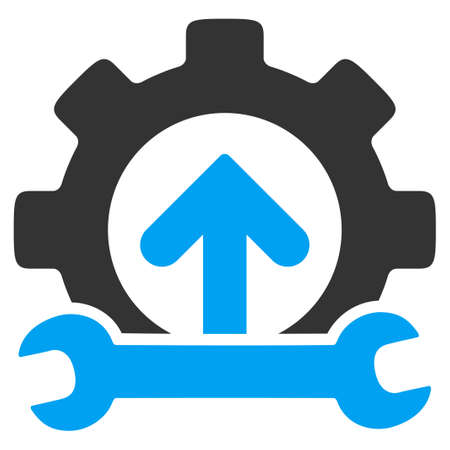 Integration Tools vector icon. Style is bicolor flat symbol, blue and gray colors, rounded angles, white background. Illustration