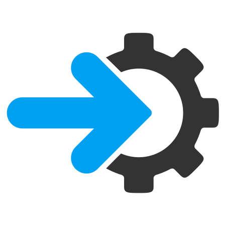 Icono de vector de integración. El estilo es símbolo plano bicolor, colores azul y gris, ángulos redondeados, fondo blanco. Ilustración de vector