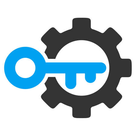Key Options vector icon. Style is bicolor flat symbol, blue and gray colors, rounded angles, white background.