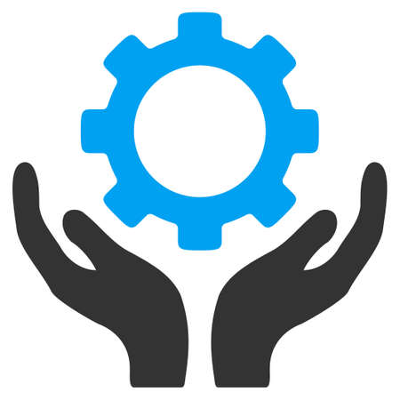 Maintenance vector icon. Style is bicolor flat symbol, blue and gray colors, rounded angles, white background. Vectores
