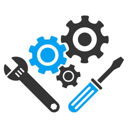 기계 도구 벡터 아이콘입니다. 스타일 바이 컬러 평면 심볼, 파란색과 회색 색상, 둥근 각도, 흰색 배경입니다.