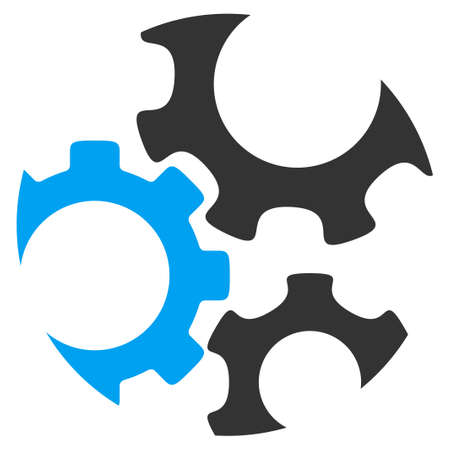 config: Mechanics vector icon. Style is bicolor flat symbol, blue and gray colors, rounded angles, white background.